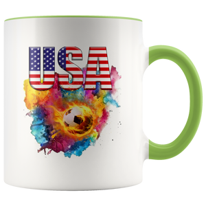 USA Soccer Accent Mug Drinkware Green {{ crystalmagicdesigns }}