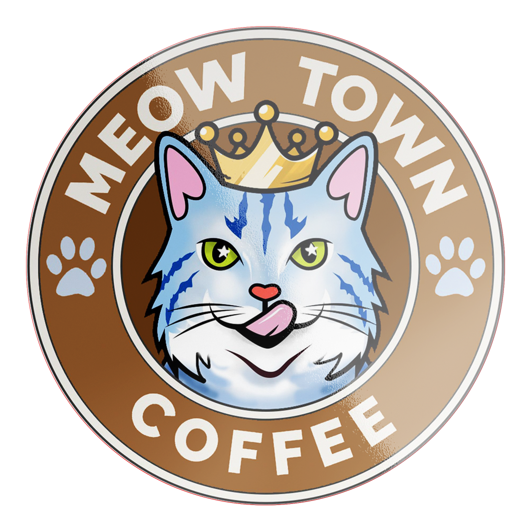 Vinyl Waterproof Sticker Meow Town Coffee Stickers 2 Small 4x4 {{ crystalmagicdesigns }}