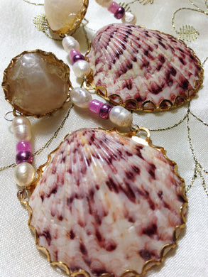 Calico Scallop Shell with Jingles Shells Earrings by Amanda Martinson Earrings {{ crystalmagicdesigns }}