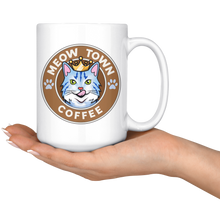 White Large Mug Meow Town Coffee 15 oz mug {{ crystalmagicdesigns }}