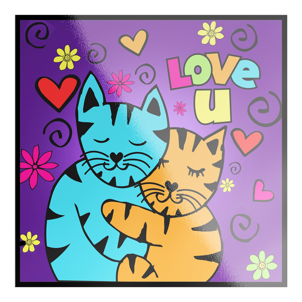 Hugging Cats Love You Sticker Stickers 2 Small 4x4 {{ crystalmagicdesigns }}
