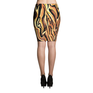 Tiger Stripe Pencil Skirt sizes up to XL by Amanda Martinson Fitted Skirt {{ crystalmagicdesigns }}