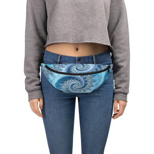 Fanny Pack Fractal Design Blue Ammonite Anti-Theft Cross Body fanny pack S/M {{ crystalmagicdesigns }}