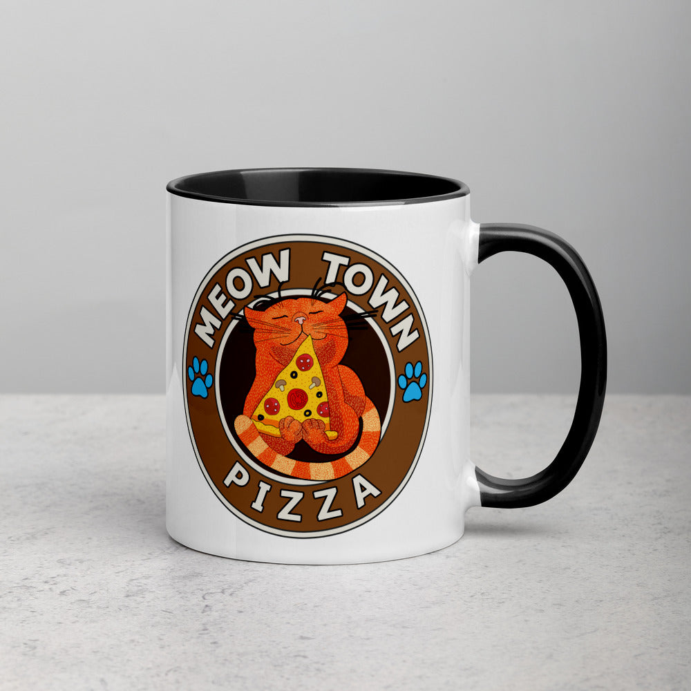 Ceramic Coffee Mug Cat Lover Gift Meowtown Pizza Hot Chocolate Cup
