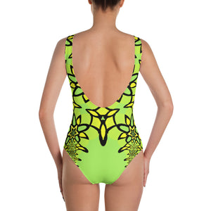 Hot Lime Geometric Flowers Pattern One-Piece Swimsuit by Amanda Martinson