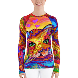Rash Guard long sleeve shirt Tshirt for women with custom artwork fractal cat with UV protection beachwear skateboarder sportswear slim fit Tshirts XS {{ crystalmagicdesigns }}