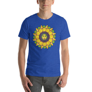 Sunflower Sunshine Girl Short-Sleeve Unisex T-Shirt up to 4X by Amanda Martinson Tshirts Heather True Royal / S {{ crystalmagicdesigns }}