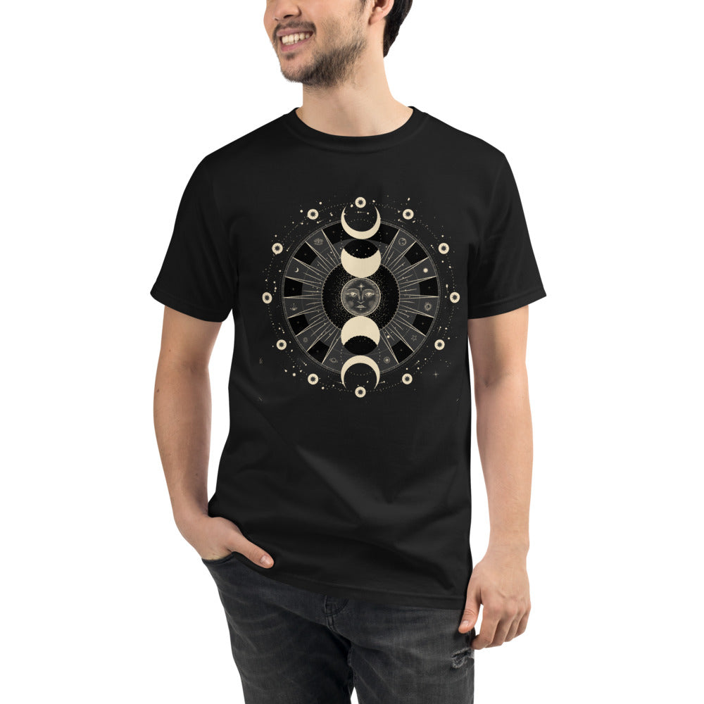 Moon Phases Organic T-Shirt black cotton unisex tshirt tee ethical eco friendly astrology clothing lunar calendar witchy