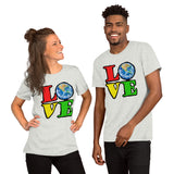Unisex T-Shirt Love Earth tshirt bright primary colors graphic design save the earth eco message anti Trump tee t Tshirts Ash / S {{ crystalmagicdesigns }}