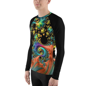 Men's Rash Guard athletic long sleeve shirt sports top fractal design