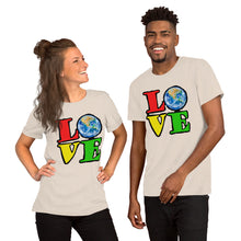 Unisex T-Shirt Love Earth tshirt bright primary colors graphic design save the earth eco message anti Trump tee t Tshirts Soft Cream / S {{ crystalmagicdesigns }}