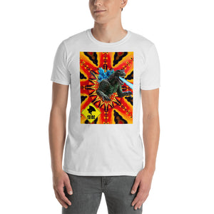"""Godzillakin"" Short-Sleeve Unisex T-Shirt emerging from fractal kaiju warning on back"