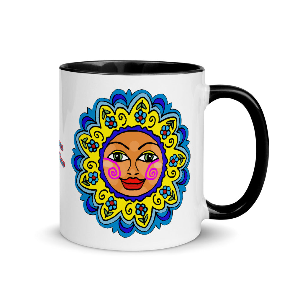 Accent Coffee or Tea Mug with Color Inside Arizona Sunshine Girl Flower Sun Face Gift