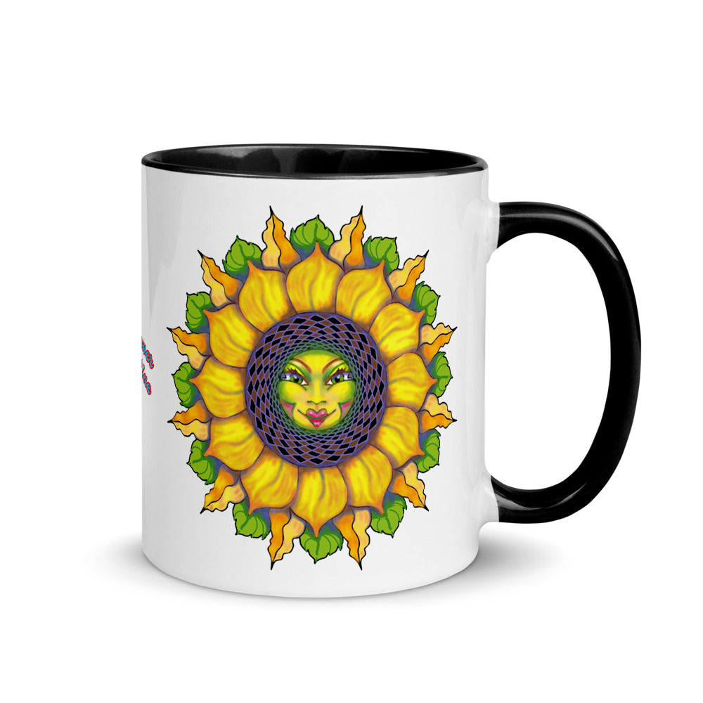Sunflower Face Accent Mug with Color Inside Sunshine Girl Cup Tea Gift Housewarming Collector