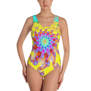 Tropical Octopus Fractal Pattern One-Piece Swimsuit by Amanda Martinson bathing suits XS {{ crystalmagicdesigns }}