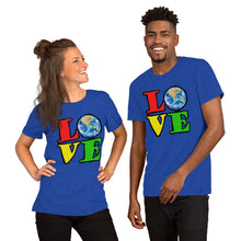 Unisex T-Shirt Love Earth tshirt bright primary colors graphic design save the earth eco message anti Trump tee t Tshirts Heather True Royal / S {{ crystalmagicdesigns }}