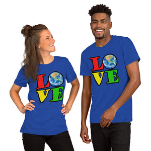 Unisex T-Shirt Love Earth tshirt bright primary colors graphic design save the earth eco message anti Trump tee t