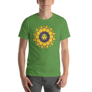 Sunflower Sunshine Girl Short-Sleeve Unisex T-Shirt up to 4X by Amanda Martinson Tshirts Leaf / S {{ crystalmagicdesigns }}