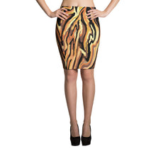 Tiger Stripe Pencil Skirt sizes up to XL by Amanda Martinson Fitted Skirt XS {{ crystalmagicdesigns }}