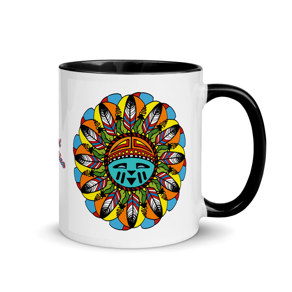 Coffee Mug with Color Inside Hopi Sunshine Girl Accent Tea Cup Sun Face Eagle Feathers Housewarming Gift Friend
