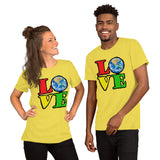 Unisex T-Shirt Love Earth tshirt bright primary colors graphic design save the earth eco message anti Trump tee t Tshirts Yellow / S {{ crystalmagicdesigns }}