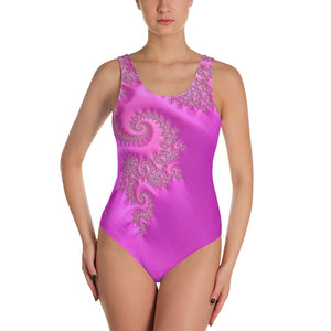 Hot Pink Violet Fractal Pattern One-Piece Swimsuit up to 3X by Amanda Martinson bathing suits XS {{ crystalmagicdesigns }}