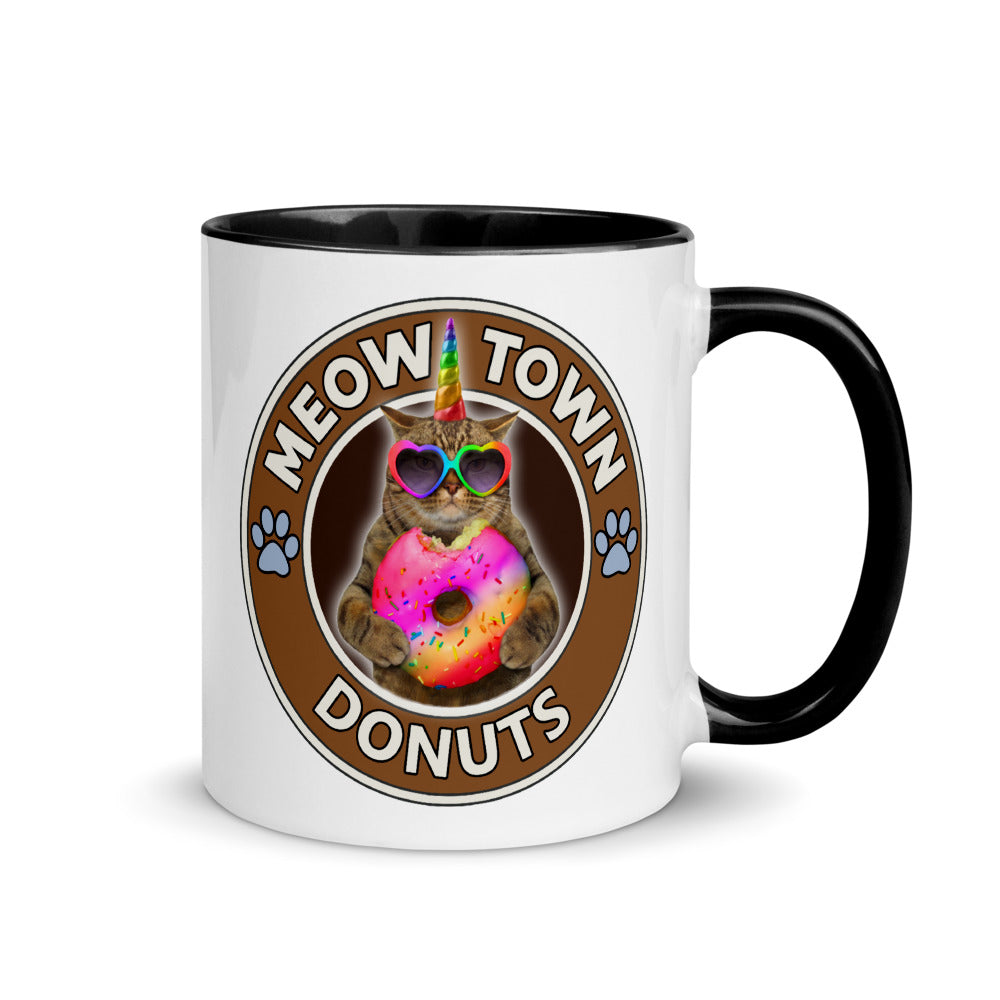 Coffee Mug Cup Meow Town Donuts with Accent Color Inside Caticorn