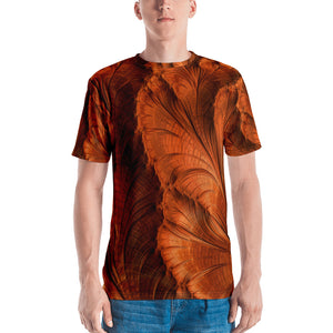 "Fractal men's 3D print t-shirt ""Copper Leaves"" T-shirt XS {{ crystalmagicdesigns }}"