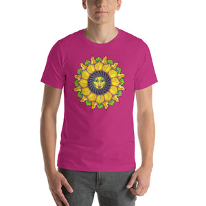Sunflower Sunshine Girl Short-Sleeve Unisex T-Shirt up to 4X by Amanda Martinson Tshirts Berry / S {{ crystalmagicdesigns }}