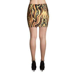 Tiger Stripe Animal Print Mini Skirt, sizes up to XL, by Amanda Martinson Fitted Skirt {{ crystalmagicdesigns }}