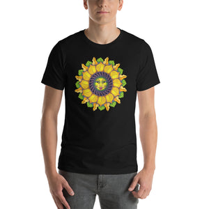 Sunflower Sunshine Girl Short-Sleeve Unisex T-Shirt up to 4X by Amanda Martinson Tshirts Black / S {{ crystalmagicdesigns }}
