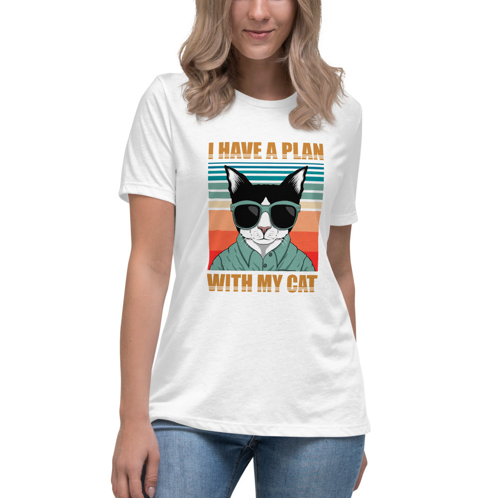 Women's Relaxed T-Shirt retro graphic tshirt I Have a Plan with My Cool Cat with sunglasses shirt