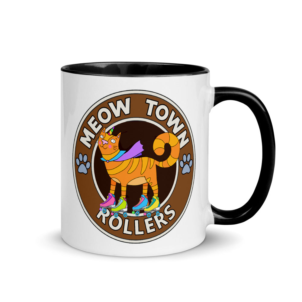 Meow Town Rollerskating CLub Cats and Coffee Mug with Color Inside