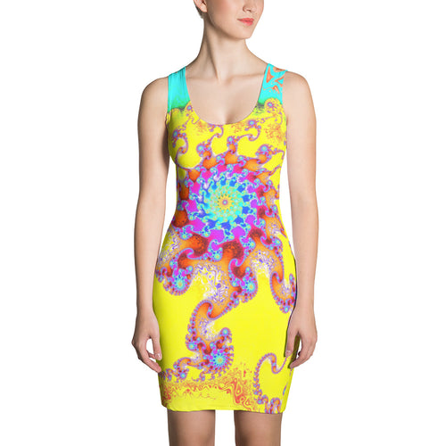 Tropical Octopus Fractal Pattern, Fitted Dress by Amanda Martinson