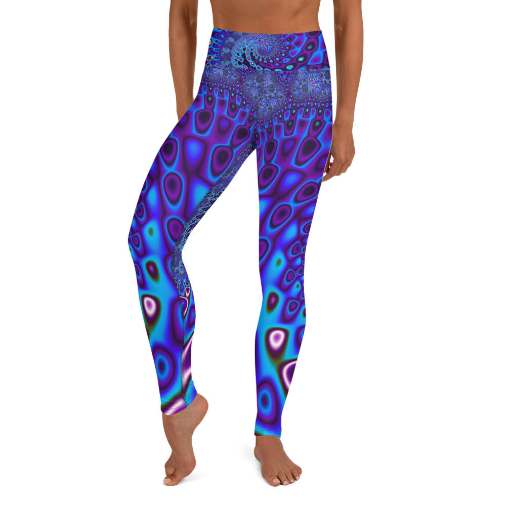 Yoga Leggings Fractal BLue Wave funkadelic custom graphic Leggings - AOP XS {{ crystalmagicdesigns }}
