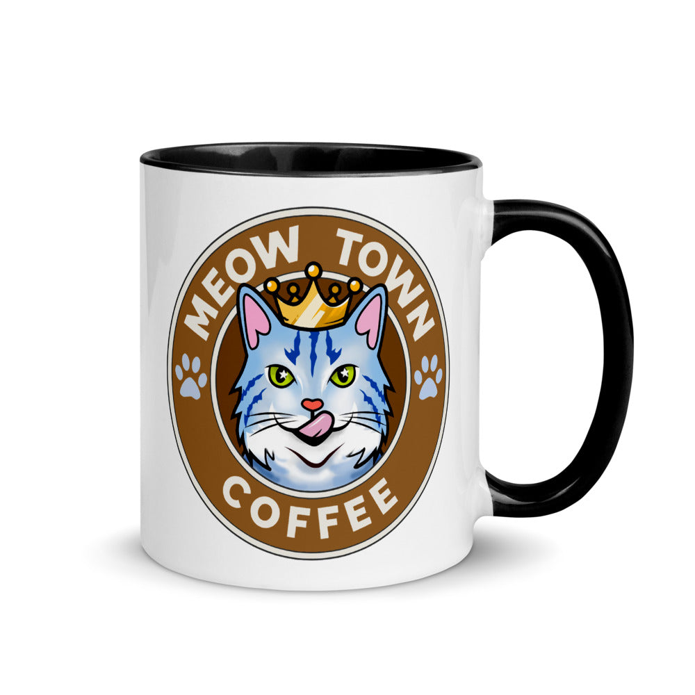 Coffee Mug with Accent Color Inside Meow Town King Crown Tabby Cat Collector Cup