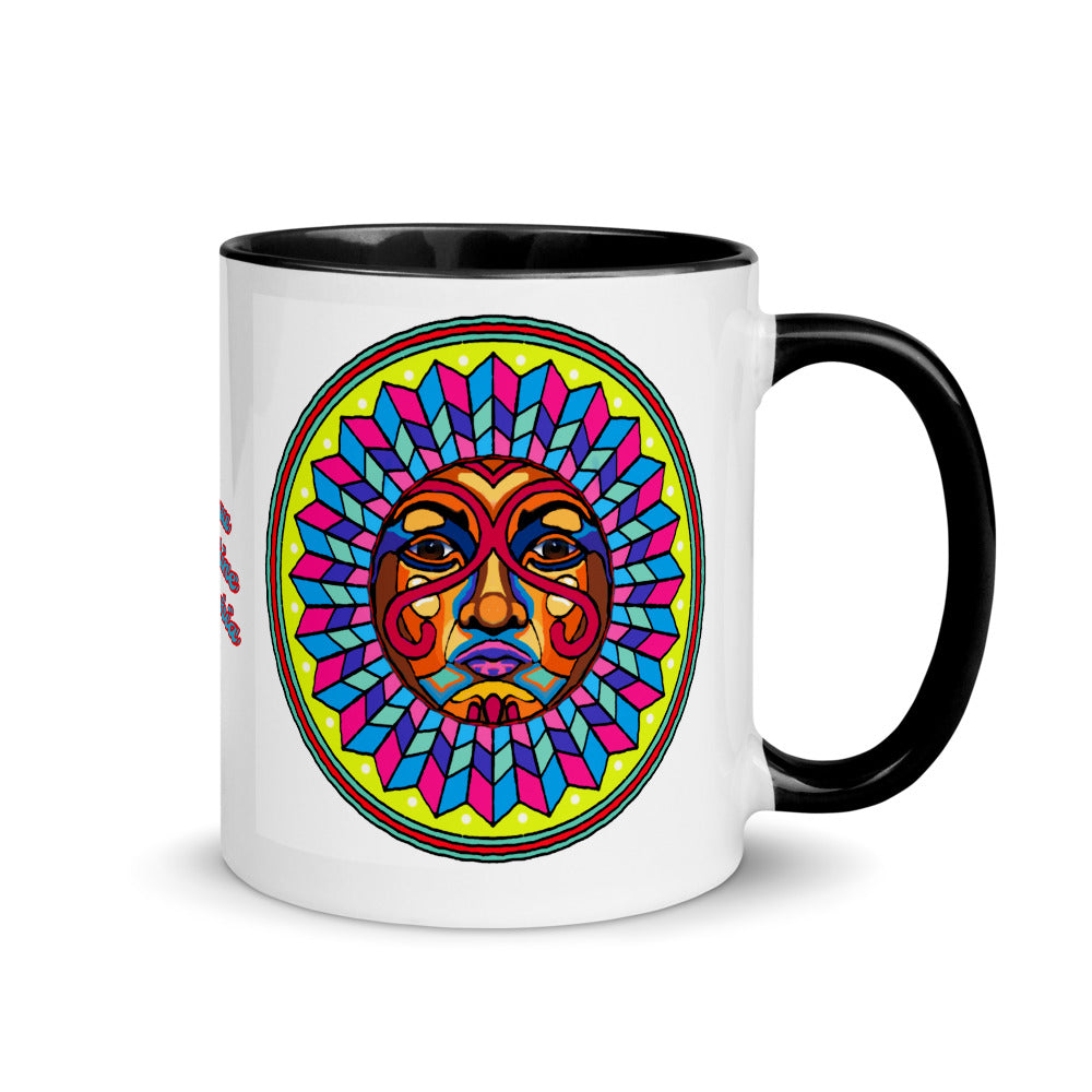 Coffee Mug with Color Inside Columbian Wayuu Tribe Sunshine Girl