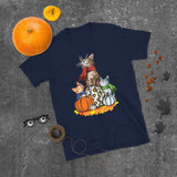 Cats and Pumpkins Unisex T-Shirt for Halloween and Thanksgiving