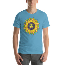 Sunflower Sunshine Girl Short-Sleeve Unisex T-Shirt up to 4X by Amanda Martinson Tshirts Ocean Blue / S {{ crystalmagicdesigns }}