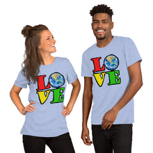 Unisex T-Shirt Love Earth tshirt bright primary colors graphic design save the earth eco message anti Trump tee t Tshirts Heather Blue / S {{ crystalmagicdesigns }}