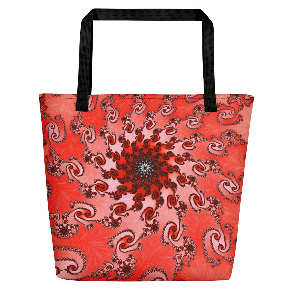 Beach Bag for Mermaids or Shopping Tote, red pattern by Amanda Martinson beach bag Default Title {{ crystalmagicdesigns }}