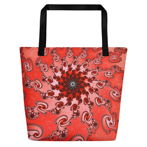 Beach Bag for Mermaids or Shopping Tote, red pattern by Amanda Martinson