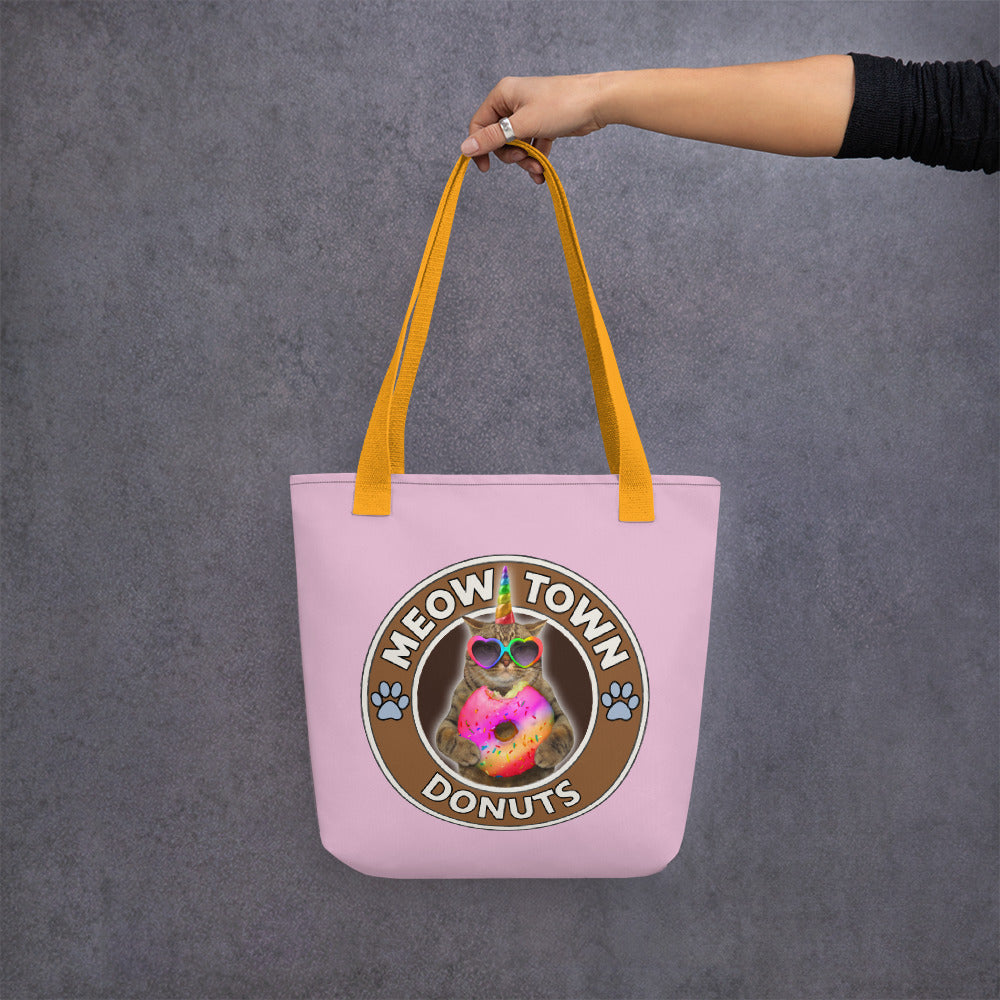 Meow Town Tote bag for grocery shopping or school, cats and coffee, donuts, ice cream
