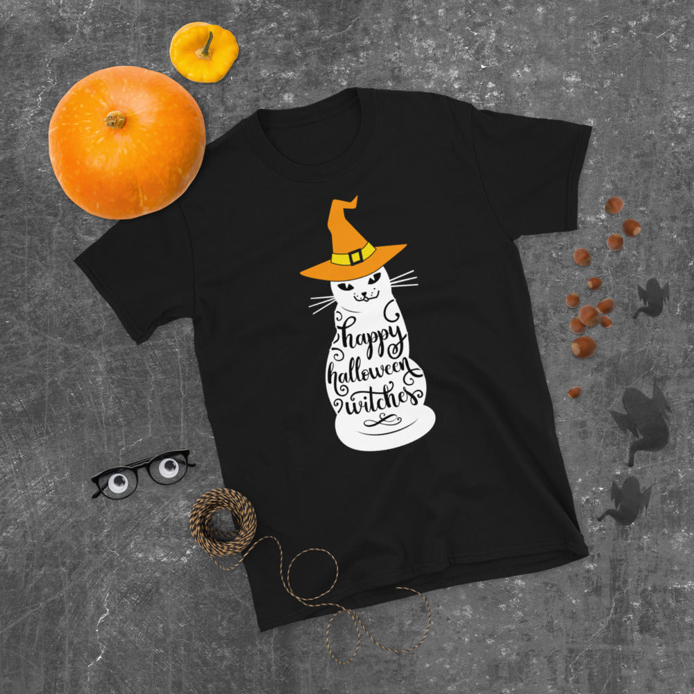 Ghost Cat T-Shirt Halloween Witches