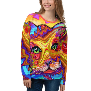 Unisex Sweatshirt Cat Face fractal colorful funkadelic graphic Sweatshirt XS {{ crystalmagicdesigns }}