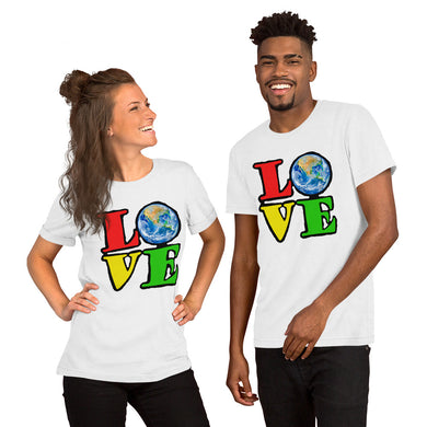 Unisex T-Shirt Love Earth tshirt bright primary colors graphic design save the earth eco message anti Trump tee t Tshirts White / S {{ crystalmagicdesigns }}