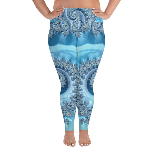 Women's Leggings Fractal Print Larger Plus Size up to 6XL Leggings 2XL {{ crystalmagicdesigns }}