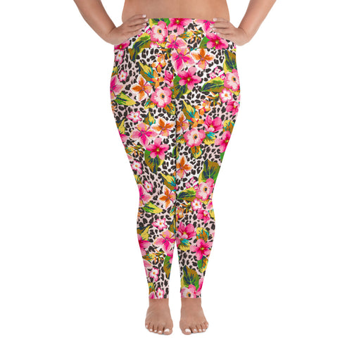 Women's Leggings Leopard Print Larger Plus Size up to 6XL Leggings 2XL {{ crystalmagicdesigns }}
