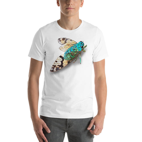 Insect Unisex T-Shirt blue cicada from Costa Rica Tshirts White / S {{ crystalmagicdesigns }}