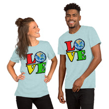 Unisex T-Shirt Love Earth tshirt bright primary colors graphic design save the earth eco message anti Trump tee t Tshirts Heather Prism Ice Bl / S {{ crystalmagicdesigns }}
